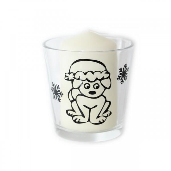 Windlicht, Teelichtglas - Weihnachtshund