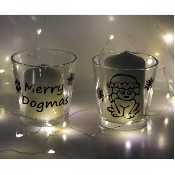 Set: Windlichter, Teelichtgläser - Weihnachtsmotive