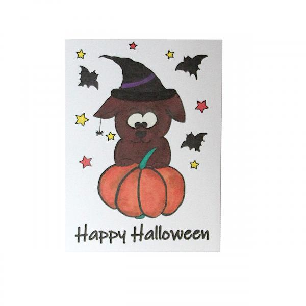 Postkate Halloween -Weiß