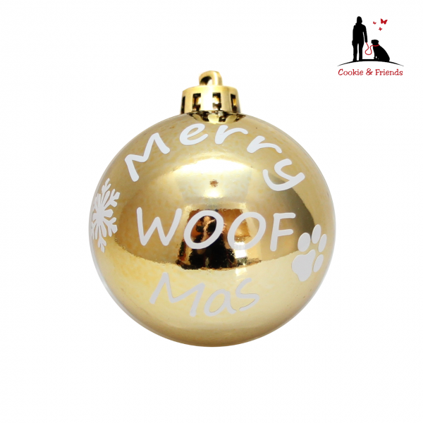 Weihnachtskugel - Merry WOOFMas (Gold)