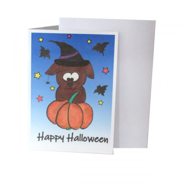 Grußkarte Halloween -Blau