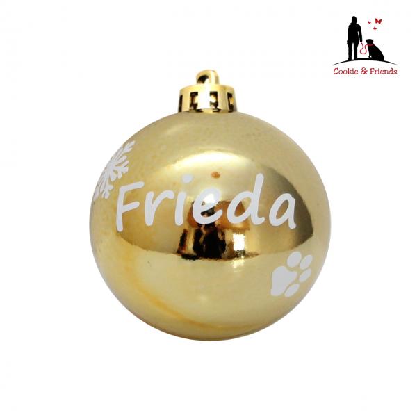 Weihnachtskugel mit Name (Gold)